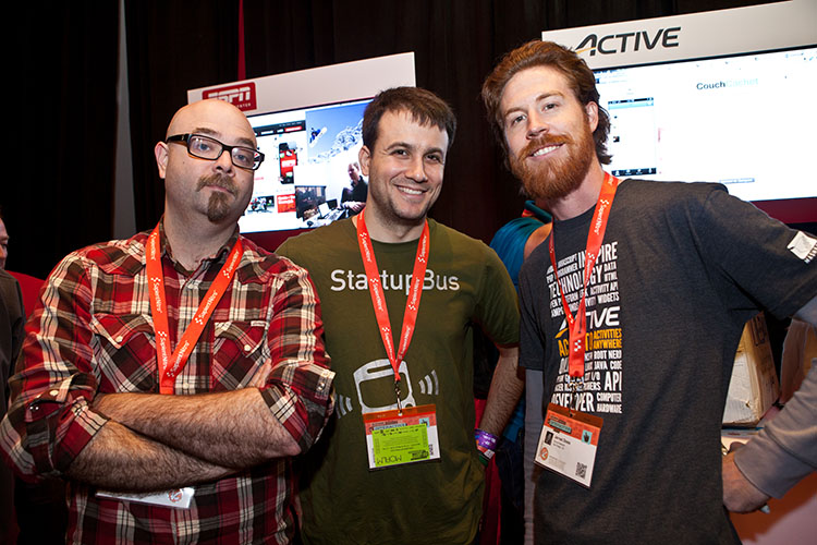 CouchCachet team (Brian Fountain & Justin Isaf) with ACTIVE Network API Evangelist Jarred Doss